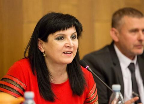 Klára Samková at the conference in Parliament